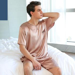 Image 5 - O 목 여름 pijamas 남자 3 분기 슬리브 남자를위한 섹시한 잠옷 실크 잠옷 정장 실크 남자 pijama 수면 복장 남자 1267