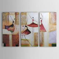 100 Hand Painted Modern Abstract Ballerina Dancers Canvas Oil Art Painting 3 Piece Art Set Wall