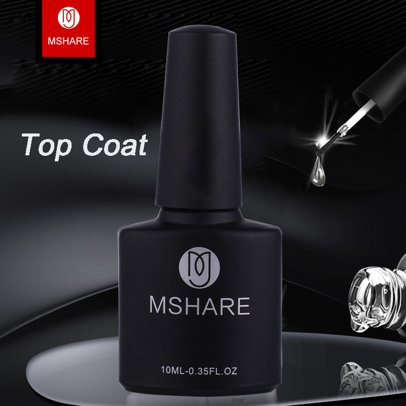 MSHARE 10ml Top Coat Sticky Layer Långtid Shinning Soak Off Nail Gel - Nagel konst