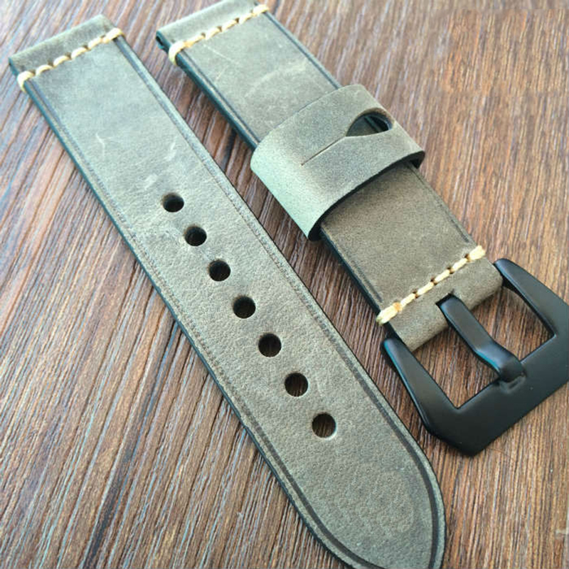 Fast delivery 20mm 22mm 24mm 26mm Genuine Leather Watchbands Mens Italy Watch Band Strap for Panerai Upscale Belt Metal buckle  handmade leather watchbands version classic men black 24mm 26mm watchbands for panerai strap fast delivery