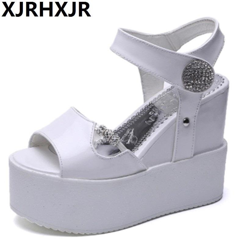 XJRHXJR Women Wedge Sandals Summer Casual Shoes Patent Leather Peep Toe Rhinestone Platform Sandals Women Shoes Black High Heels women peep toe sandals summer platform wedge invisible high heels boots rome style side zip casual shoes woman silver blue white
