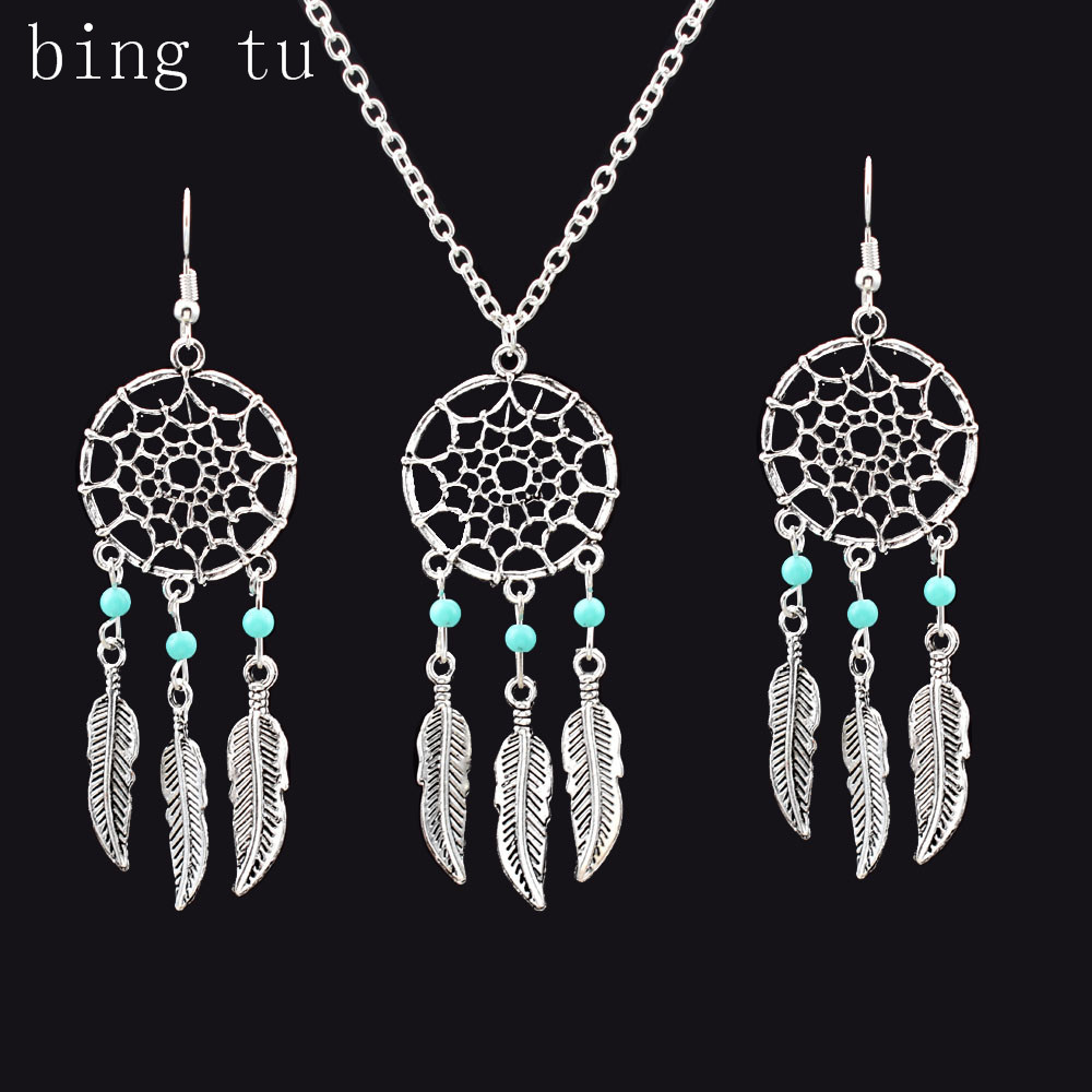 Bing Tu New Silver Color Jewelry Sets Bohemia Feather Leaf Design Necklace  Earrings Women Wedding Party