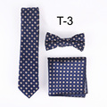 Lingyao Luxury Gift necktie set  floral Tie + Pocket square + Bowtie