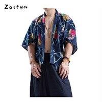 ZAITUN Folk Costume Men Shirts Linen Cotton Casual Brand Open Stitch Patchwork Pattern Half Sleeve Floral