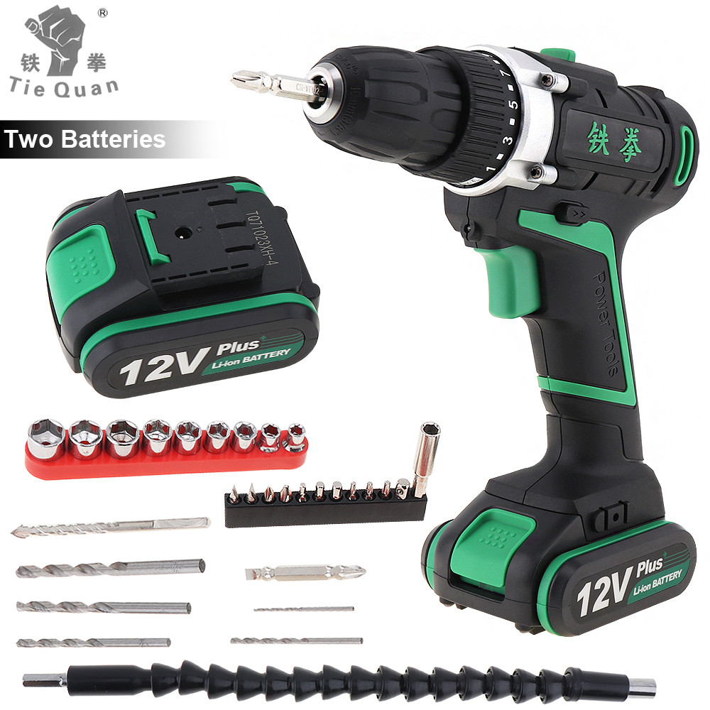 Cordless Rechargeable 12V Plus Electric Drill Screwdriver Power Tools with 2 Lithium Battery and 29pcs Accessories Set