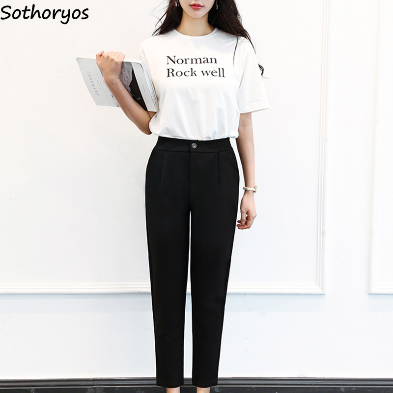 Pants Women Solid Casual High Button Trendy School Daily Simple Womens Ankle-Length Trousers Classic All-match Korean Style Soft