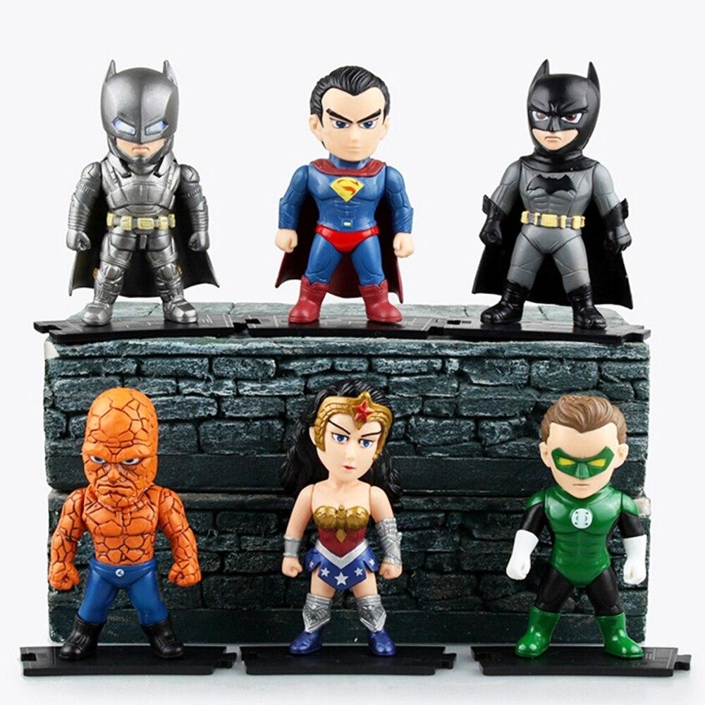 ФОТО 6 pcs/set DC Heroes Justice League Action Figure Batman Superman Wonder Woman Model Toys