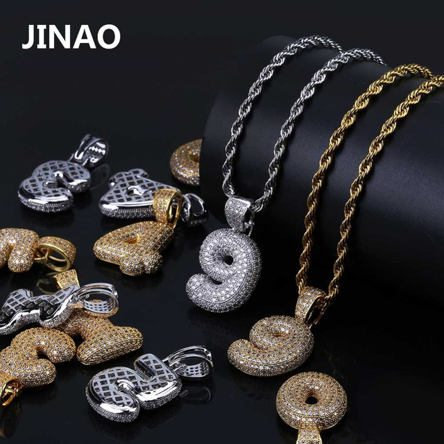 JINAO Hip Hop Custom Name Jewelry 0-9 Bubble Numbers Necklaces&Pendant Gold Silver Color Cubic Zircon Charm For Men Women Gifts
