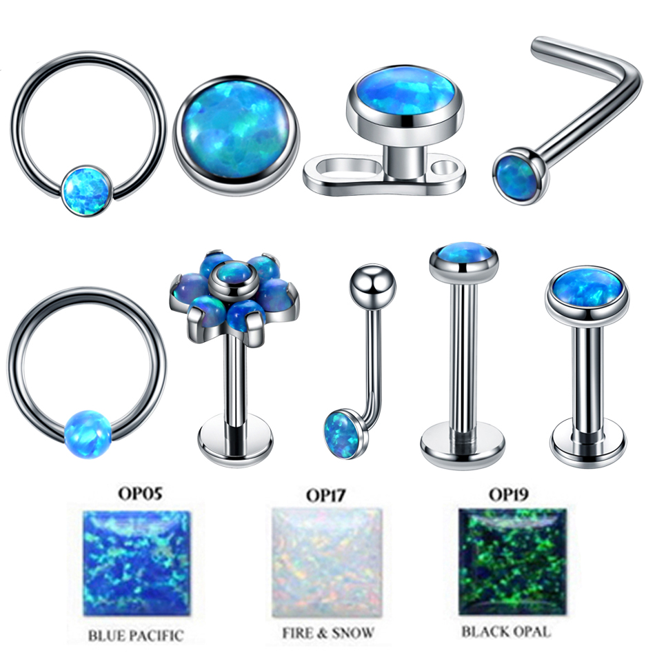 1PC Titanium Labret Nostril Vagina CBR Piercings Opal Ear Septum Helix Cartilage Opal BCR Piercings Micro Dermal Anchor Jewelry