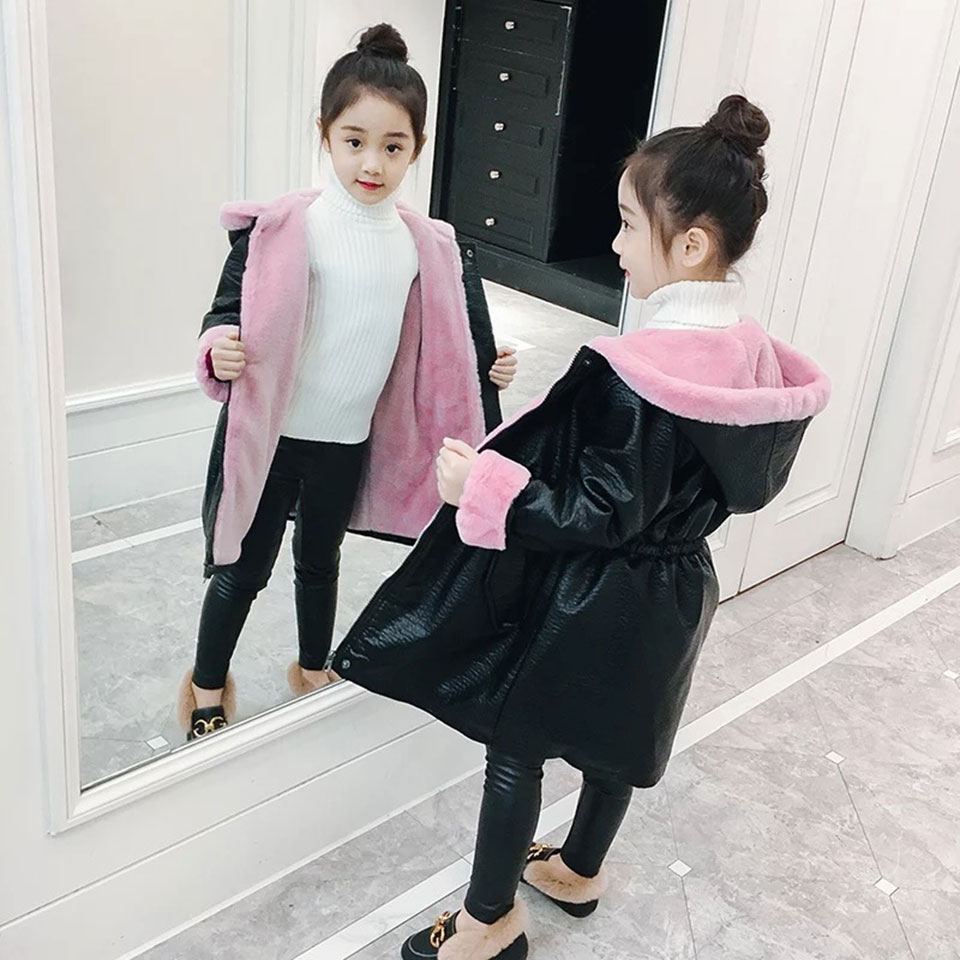 New Brand Girls Winter Coat Children Jackets Cotton Parkas Kids Winter Outerwear Coats Thick Warm 3 Colors PU Baby Girls Coat girls jackets and coats 2018 new brand outdoor baby windbreaker coats kids warm capes children winter outerwear girls clothing