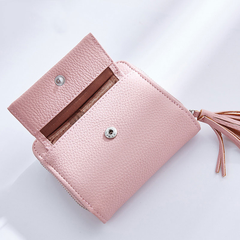 Fashion Women Short Money Wallet Small Wallets Tassel Pendant  PU Leather Lady Zipper Coin Pocket Purses Female Cardbag