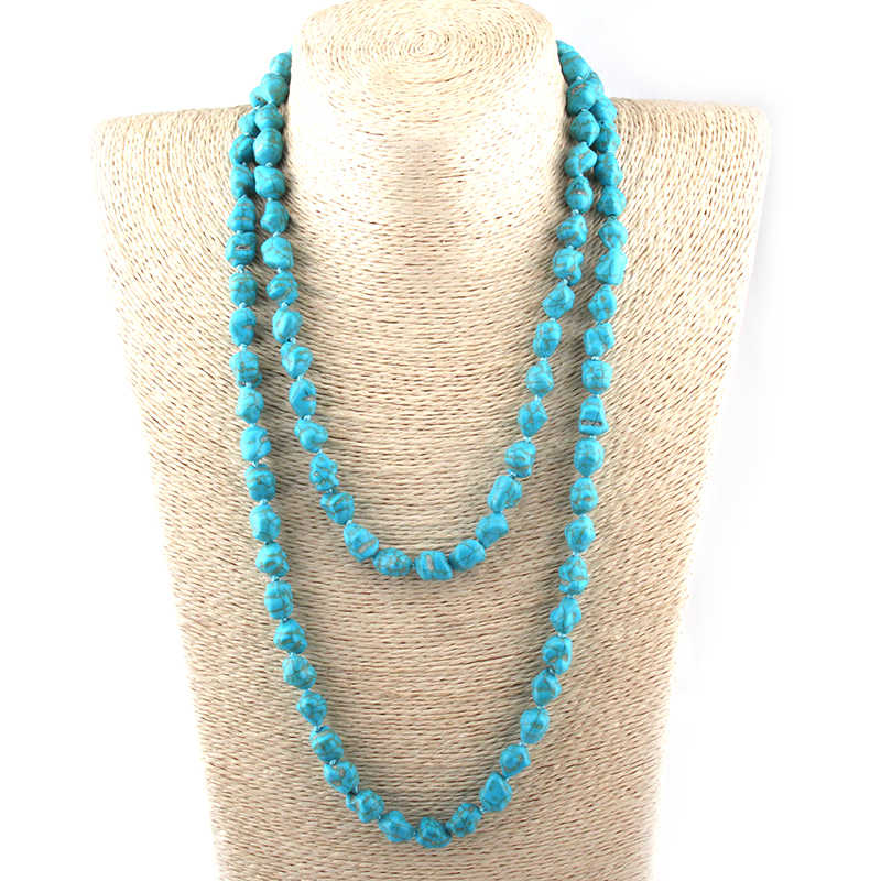 Free Shipping Fashion Bohemian Tribal Jewelry Blue Irregular Stone Necklaces Ethnic Necklace 120cm