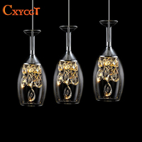 Wine glass Modern Pendant Chandelier LED Crystal Chandeliers Three Head Disc Tray and Rectangular Plate Optional Free Shipping