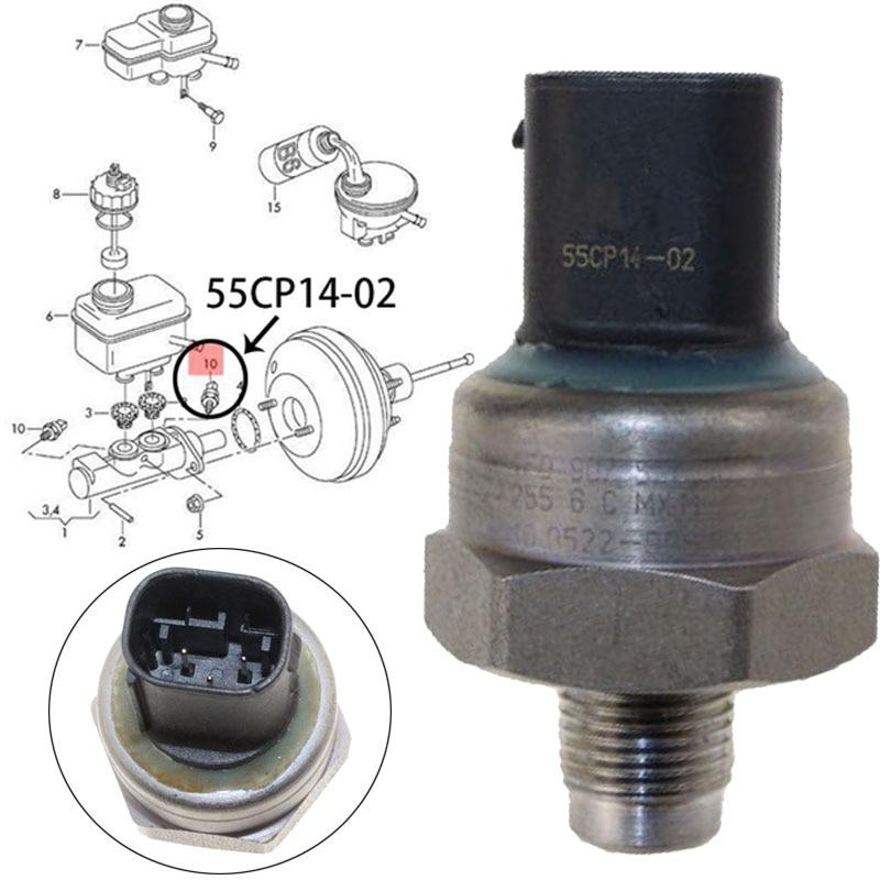 Véritable capteur de pression de frein pour Audi S6 A6 Avant Quattro S6 5.2L Skoda Octavia Beetle 4F0907597A 55CP14-02 10.0522-9961.1