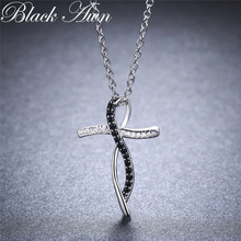 [Սև AWN] Նուրբ օրիգինալ 100% 925 ստերլինգ արծաթյա վզնոց Կանացի զարդեր սև և սպիտակ քարե վզնոցներ կախազարդ P114