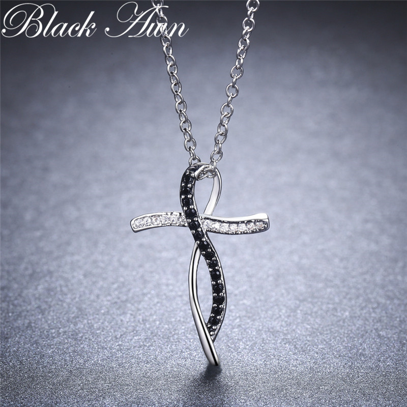 Fine Genuine 100% 925 Sterling Silver Necklace Women Jewelry Black&White Stone Necklaces Pendants P114