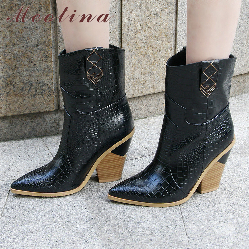 Meotina Women Boots Shoes Strange-Style Autum Pointed-Toe High-Heel Winter Size-33-46