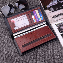 2019 Men's Fashion Wallets Vintage Look Long Wallet PU Leather Wallet Bifold Male Purse Card Case Men Cash Holder