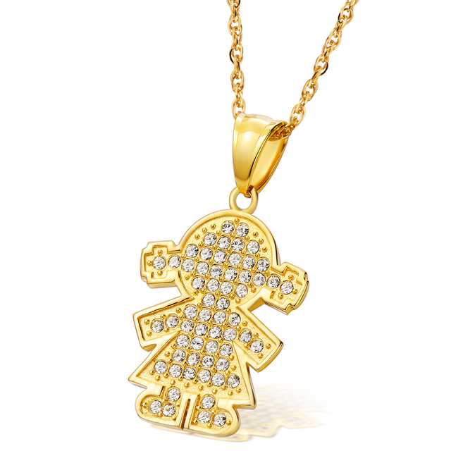24k gold plated little girl crystal pendant necklace with stainless 24k gold plated little girl crystal pendant necklace with stainless steel children necklace for girl n00179 aloadofball Images