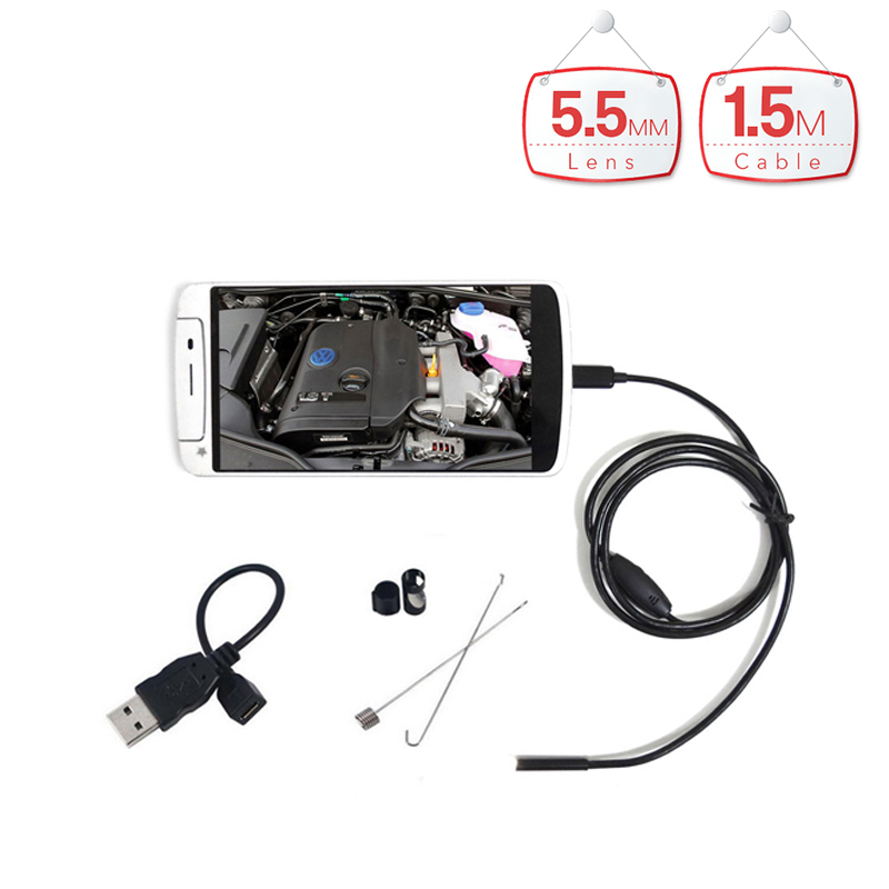 5.5mm Lens 1.5m Cable 6LED Waterproof Android Endoscope with HD micro Camera Endoscopy Borescope for Android Phone PC 7mm lens mini usb android endoscope camera waterproof snake tube 2m inspection micro usb borescope android phone endoskop camera