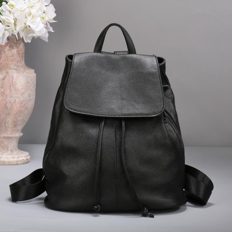 FoxTail & Lily Brand Women Genuine Leather Backpack Black Female Shoulder Bag Drawstring Backpacks for School Teenagers Girls zency genuine leather backpacks female girls women backpack top layer cowhide school bag gray black pink purple black color