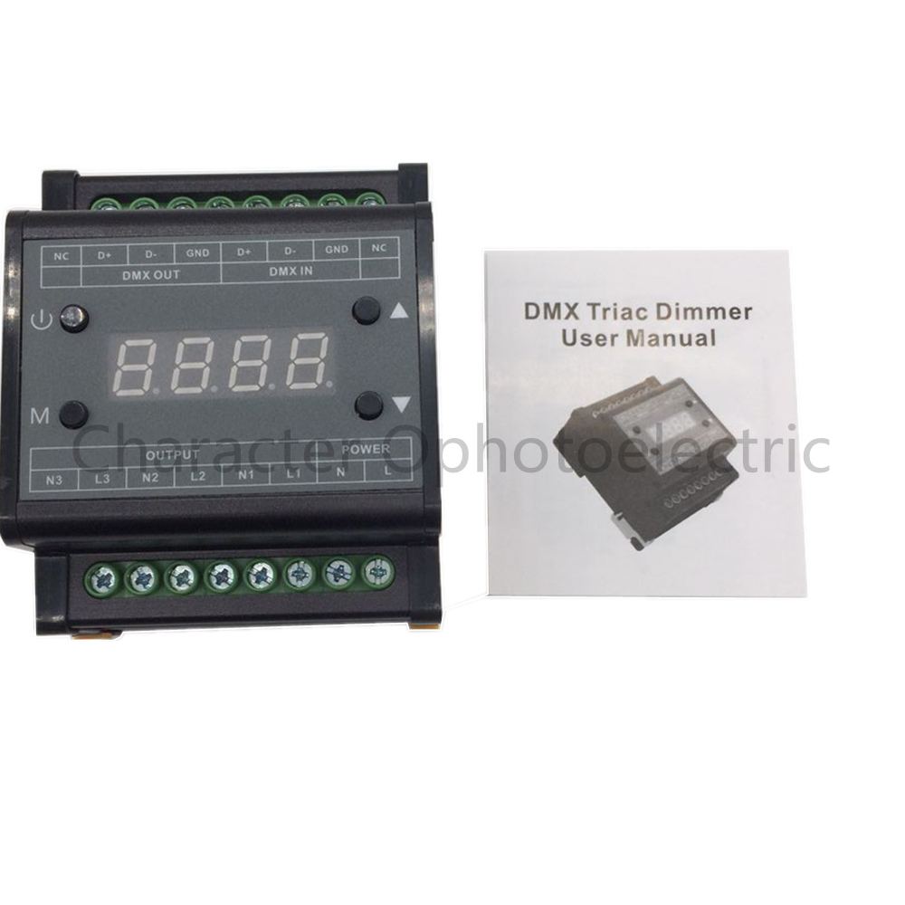 2 pcs Free shipping DMX302 DMX triac dimmer led brightness controller AC90-240V 50Hz/60Hz high voltage 3 channels 1A/channel dmx512 digital display 24ch dmx address controller dc5v 24v each ch max 3a 8 groups rgb controller