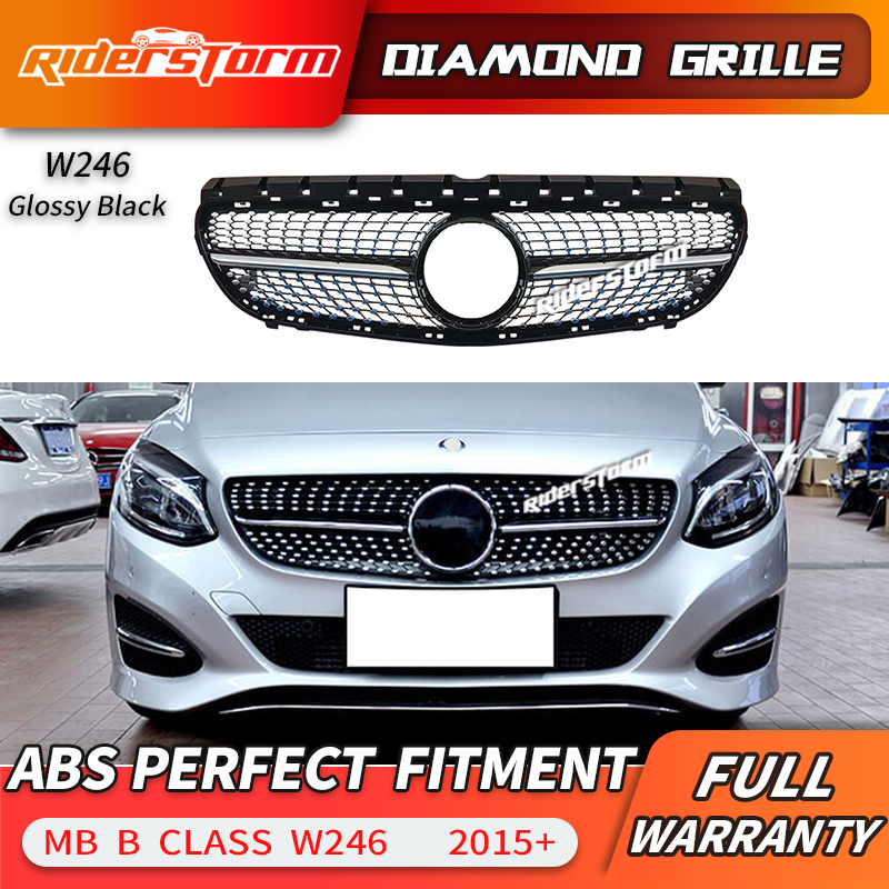 For Mercedes Benz B Class W246 Grille Black Silver Front