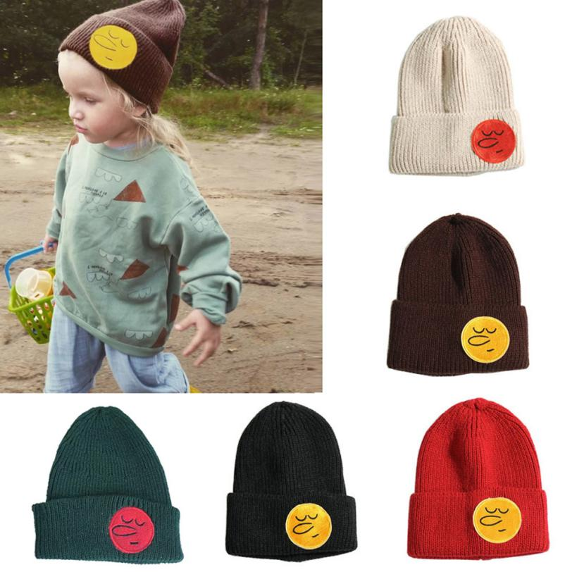 For over 6 years old Fashion children bebe Knit Hat Kids smiley face cap girlWinter Keep Warm Wool Emoji Beanie baby Hat st4 P30