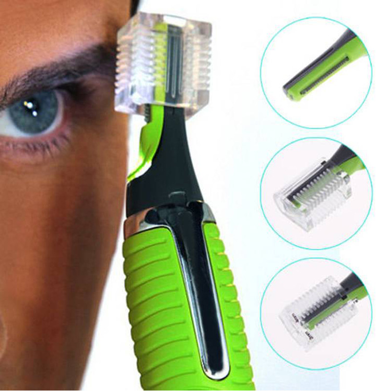 Battery-Powered-Men-Trimmer-Shaver-Hair-Removal-with-LED-Light-Green-Color-A3116-Free-Shipping