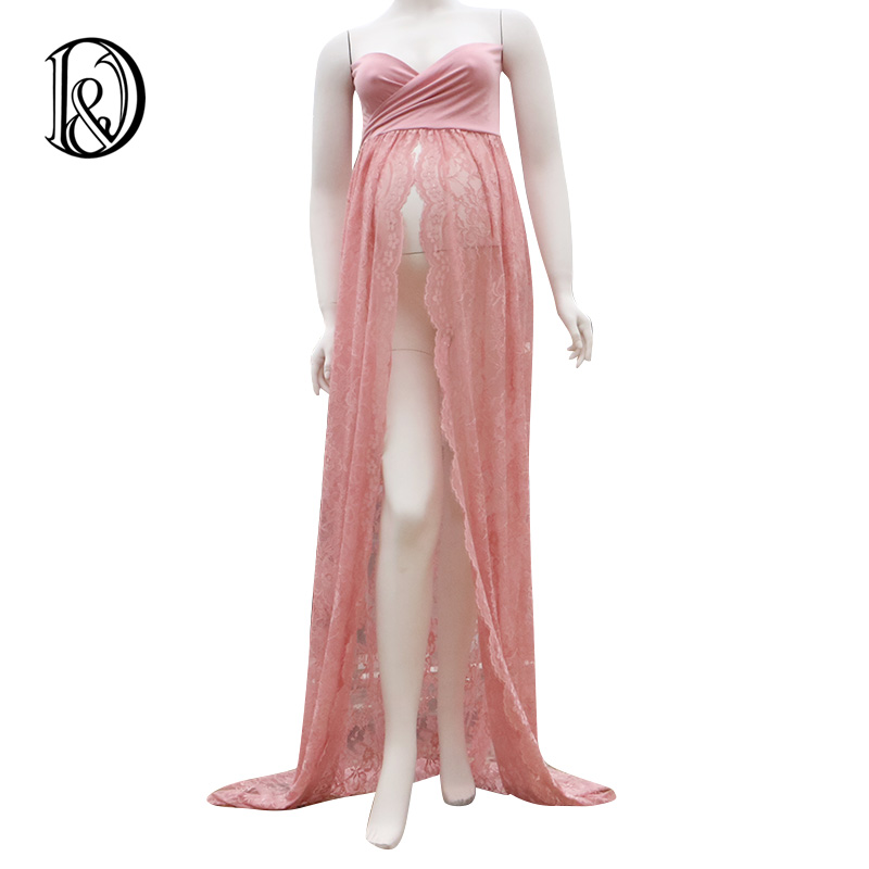 (170cm) Twisted Tube Maternity Dress Lace Shoot Split Front Style Gown Free Size Stretch Photo Props Baby Shower Gift