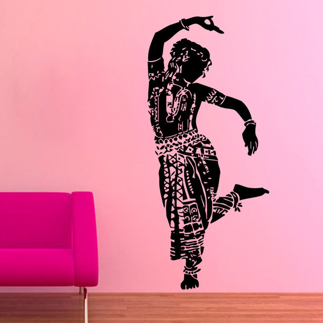 ZOOYOO Indian Woman Wall Sticker Gym Dance Wall Decal Home Decor Art ...