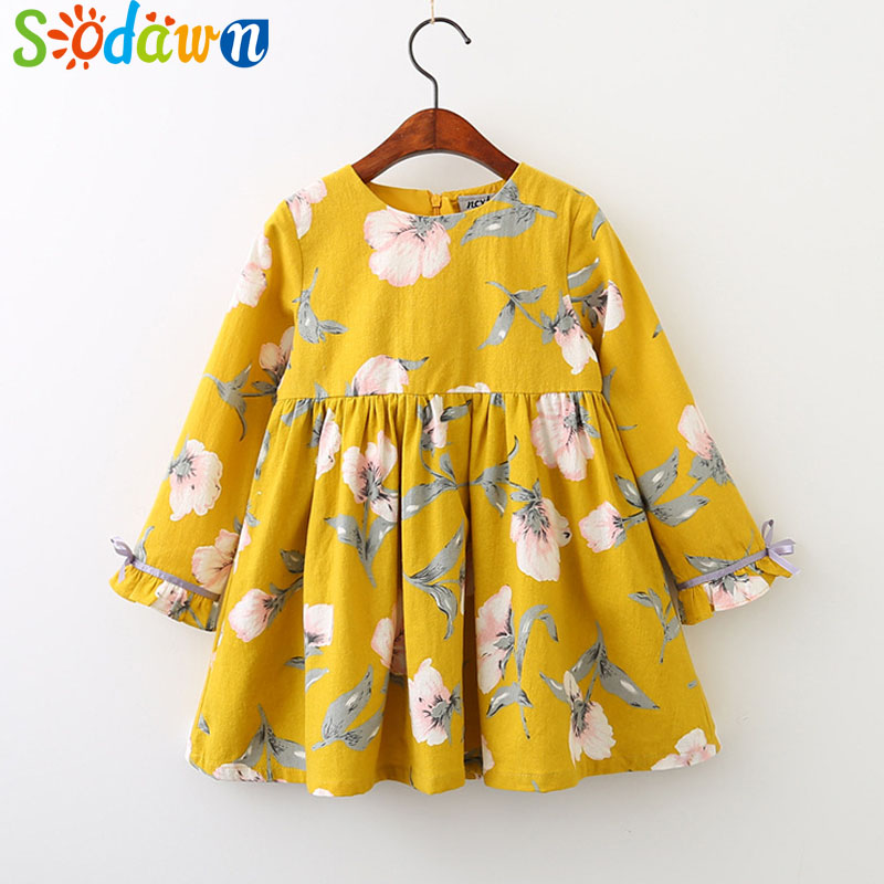 Sodawn New Autumn Style Grils Clothes Fashion Printed Long Sleeves Round Neck Bow Dress Kids Clothing Baby Girls Dress white slit design round neck long sleeves crop top