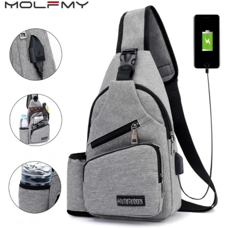 Chest-Bags Sling Shoulder-Bag Waist-Pack Usb-Charge Travel Antitheft External Male Men