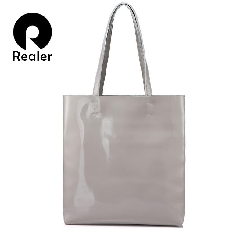 REALER shoulder bags for women 2019 handbags female soft patent leather crossbody top handle bags high