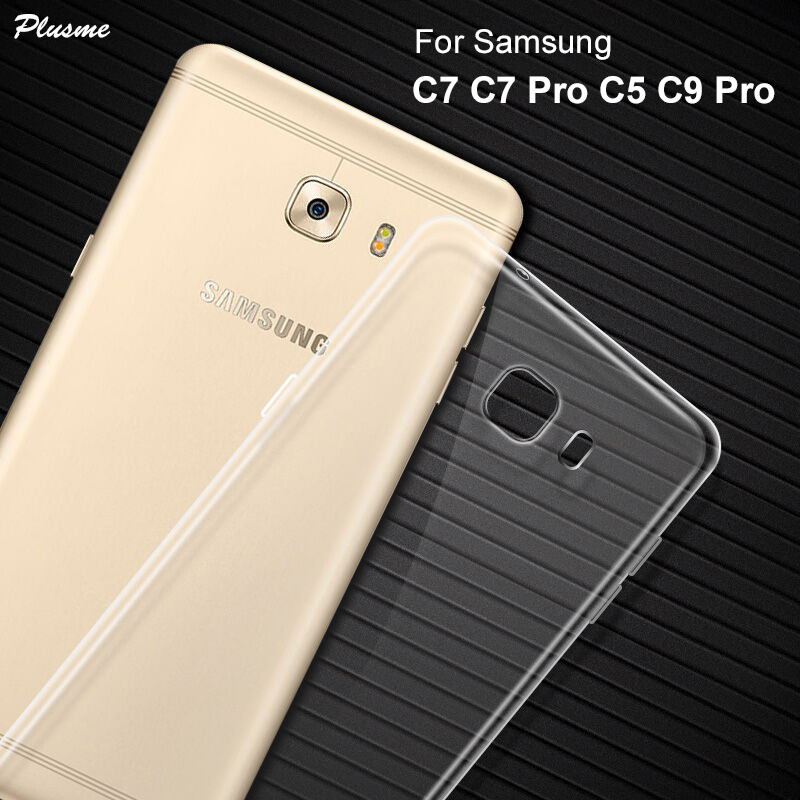Plusme Para Samsung C7 Pro C9 Pro C7 C5 Caso 2017 TPU Silicone Macio Caso Claro Ultra Fino Para Galaxy c7 Pro C5 C7 C9 Pro Saco Capa