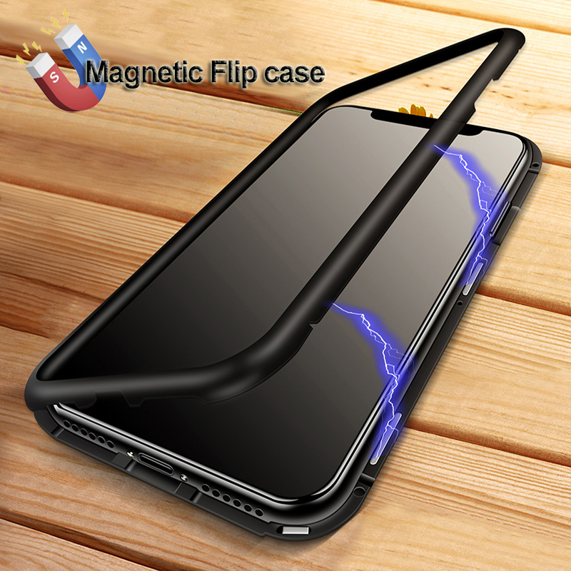 YAGOO Magnetic Adsorption phone case for iphone X 7 plus case metal frame cover tempered glass for iphone 7 8 plus luxury fundas
