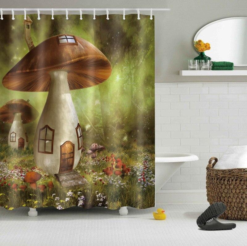 Funny Cartoon Style Custom Waterproof Bathroom Wonderland Mushroom Shower Curtain Polyester Fabric Bathroom Curtain Kids Gift