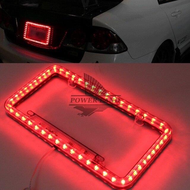 Lumière rouge éclairée 12V DC 1 ensemble | 54 led éclairée 12V DC, acrylique Standard américaine, plaque dimmatriculation du camion, cadre, lumière clignotante universelle