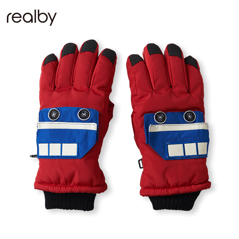 Realby 8-10 Years Olds Outdoor Ski Gloves Female Winter Keep Warm Thicker Cold Childrens Gloves Male Winter C5328XL