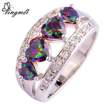 Wholesale Fashion AAA Jewelry Heart Cut Rainbow Topaz & White 925 Silver Ring Size 6 7 8 9 10 11 12 Engagement Wedding