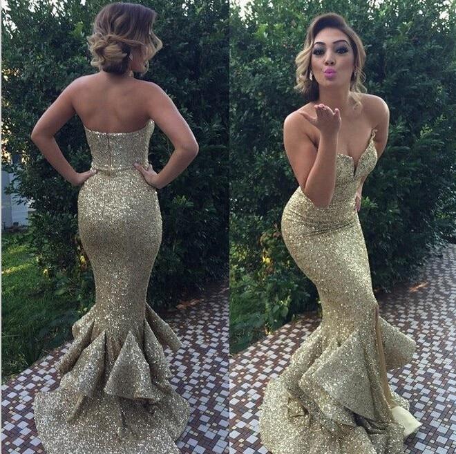 Sexy Gold Sequins Mermaid Bridesmaid Dresses 2015 Sweetheart Zipper ... ec13067c57dd