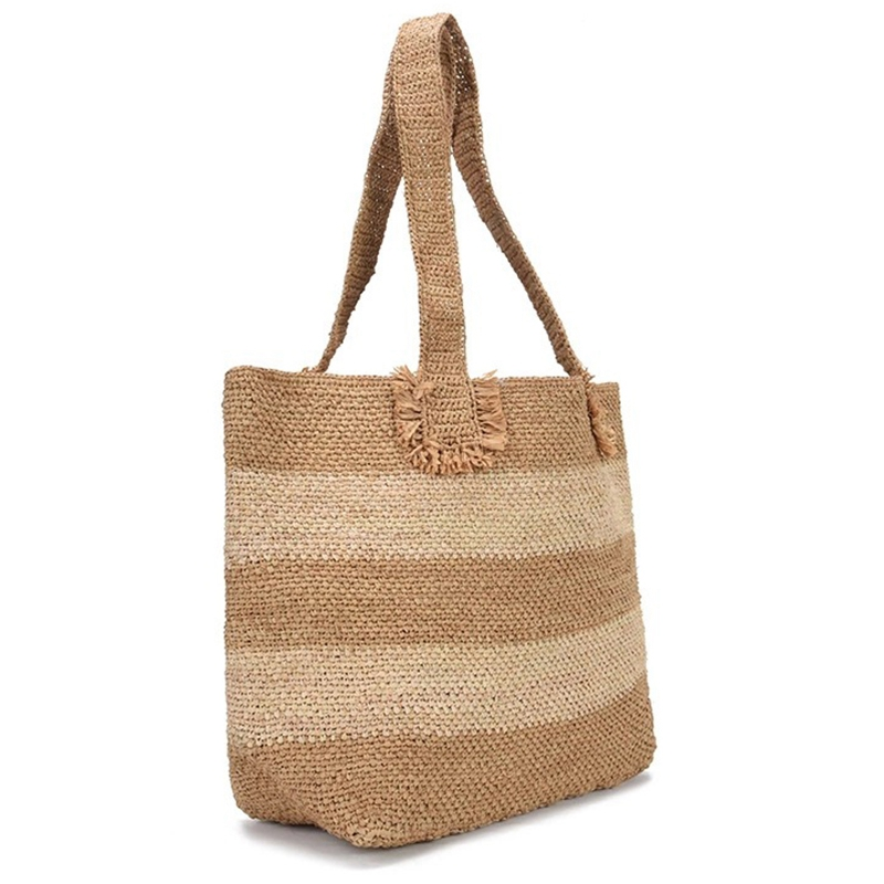 Beach Bag Vintage Handmade Woven Shoulder Bag Raffia Rattan Bags Bohemian Summer Vacation Casual Bags