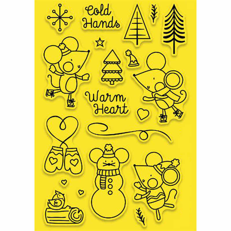 YaMinSanNiO Cute Mouse Tree Metal Cutting Dies and Clear Stamps for Scrapbooking New Die Cuts for Card Making Craft Stitch