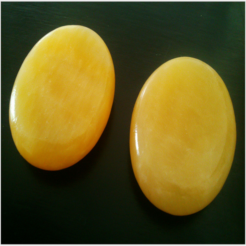 HIMABM 1 Pcs natural yellow jade basalt stone SPA massage for relax health body chakra reiking healing stone health tool