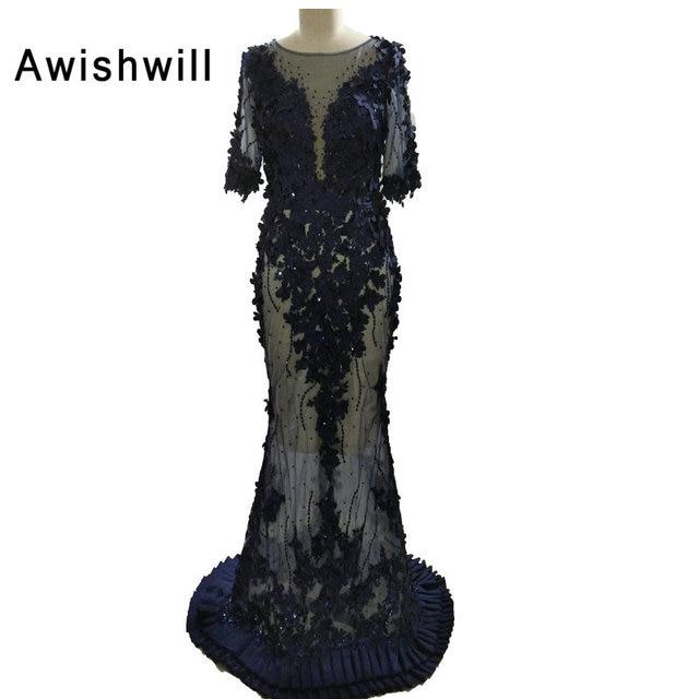 fa3c9ae9aa Sexy Half Sleeves See Through Mermaid Prom Dress Beading Flowers Floor  Length Long Party Evening Gown Vestido De Fiesta