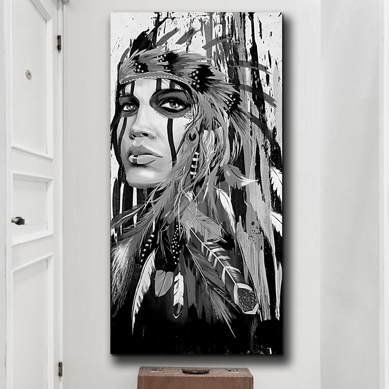 440d0ae2653 White and Black Native American Indian Girl Feathered Canvas Painting  Posters And Prints Nordic Wall Picture for Home Decoration