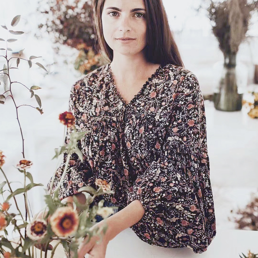 Boho Blouse 2017 Autumn Cotton & Rayon Floral Print