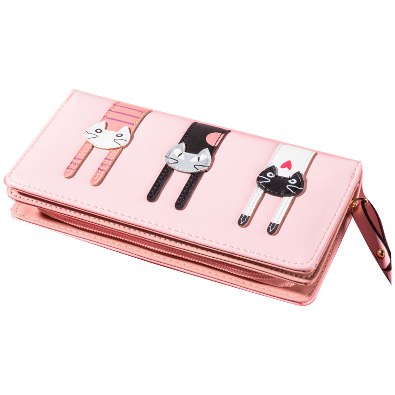 OLOEY Ladies Wallet Long Small Fresh Cat Clutch Bag Multi-card Large Capacity Mobile Phone Bag Sweet Lady Style Bag