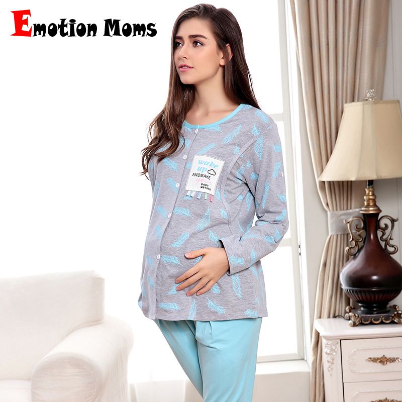Emotion Moms Long sleeve Maternity Sleepwear Breastfeeding Clothes Nursing Pajamas for Pregnant Women Maternity Pajamas Suit цена