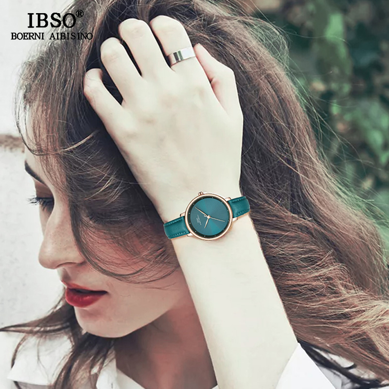 IBSO Brand 36mm Dial Simple Women Watches 2019 Green Leather Strap Quartz Watch Fashion Ladies Clock Montre Femme